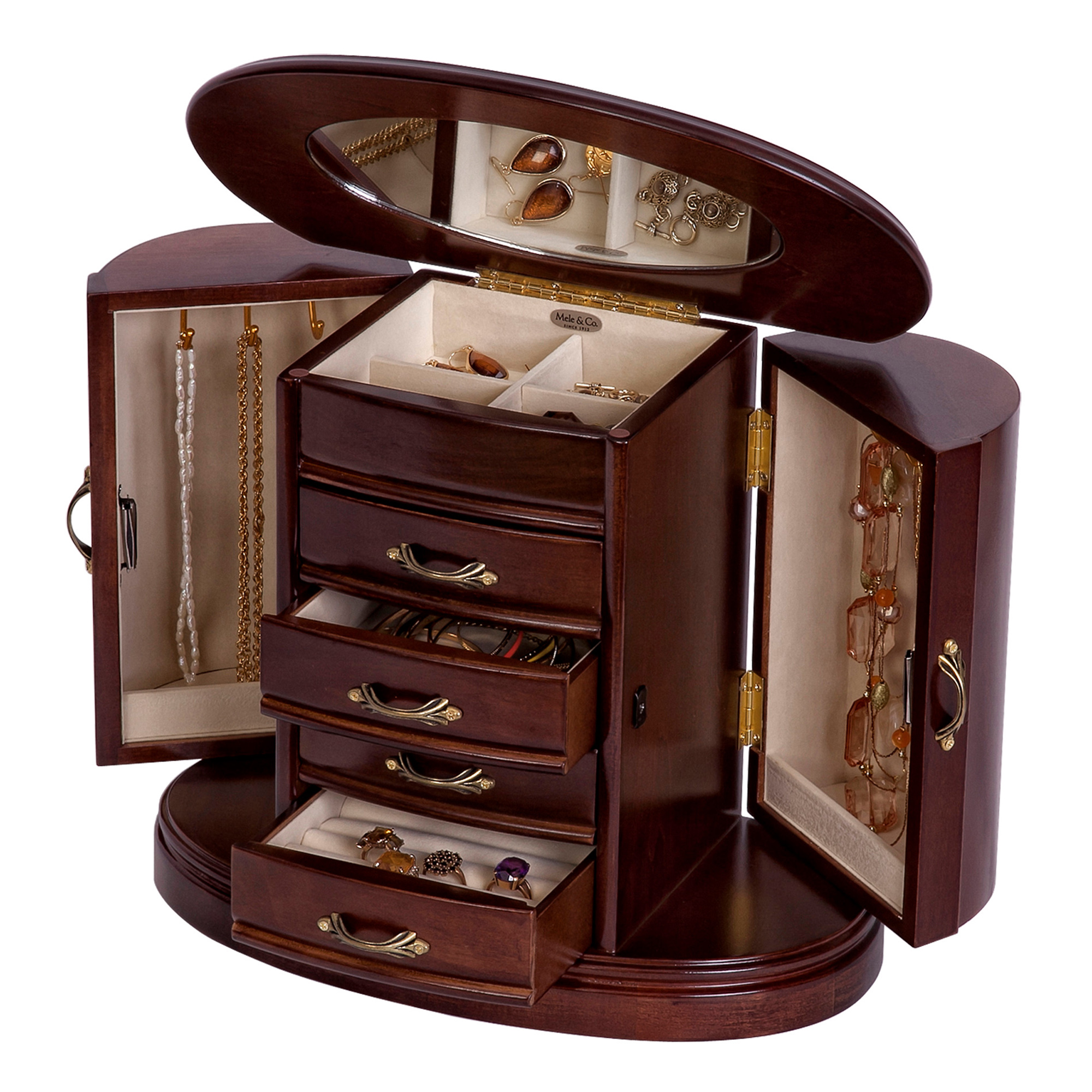 mele heloise wooden jewelry box in walnut finish. Black Bedroom Furniture Sets. Home Design Ideas
