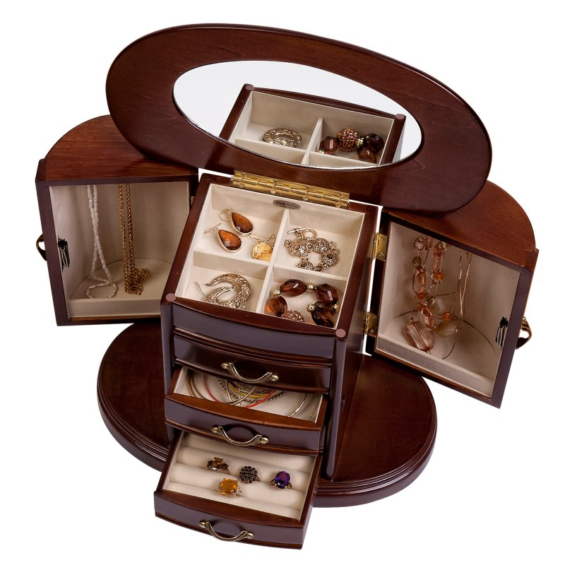 mele co richmond wood jewelry box in walnut finish style