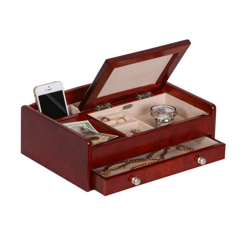 Modern Sophisticated Dark Burlwood Walnut Colored Dresser Top Valet