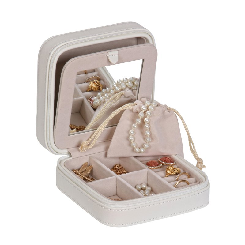 Compact Stylish Square Shape Zip Around Jewelry Organizer