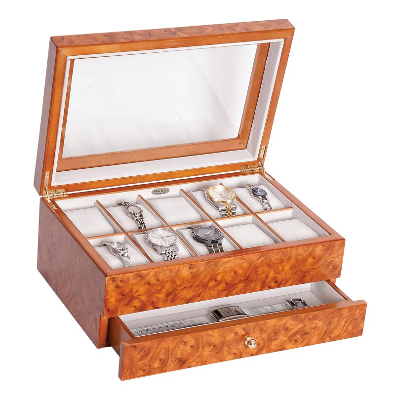 Classic Large 10 Section Burlwood Oak Colored Watch Organizer with