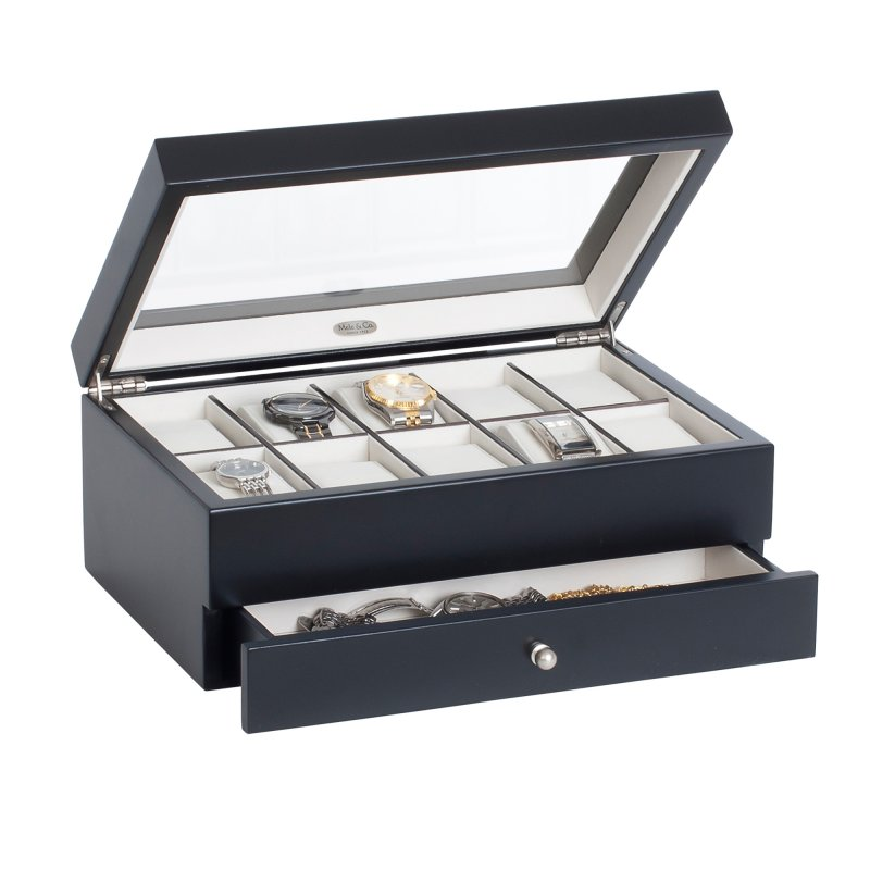 Classic Large 10 Section Java Colored Watch Organizer with Extra