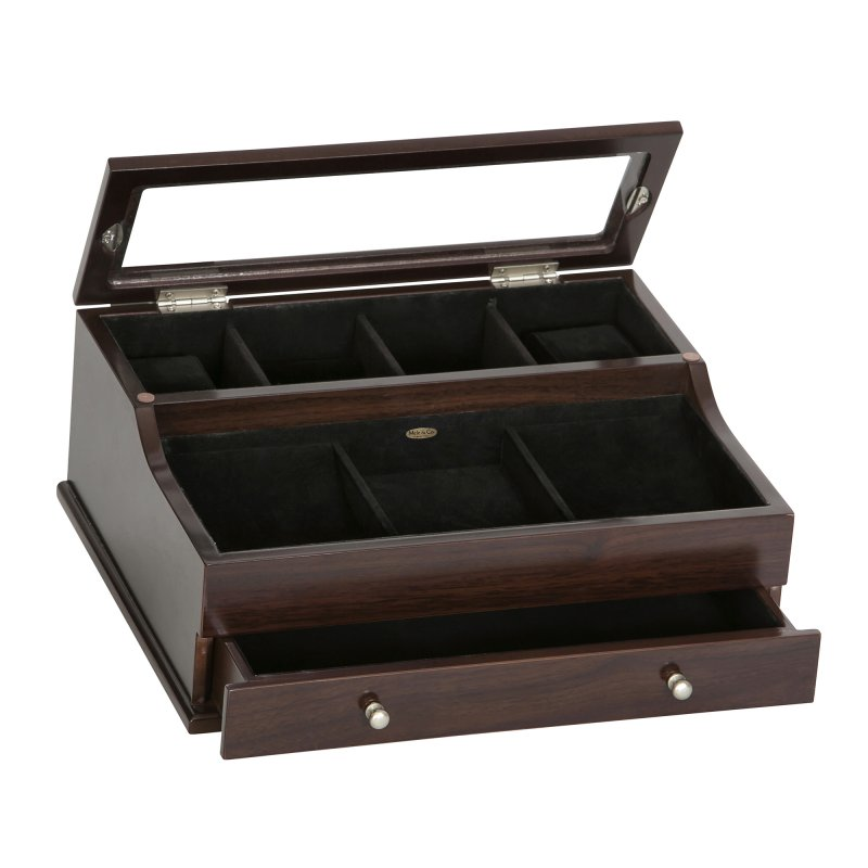 Sleek Rich Mahogany Colored Dresser Top Valet With Watch