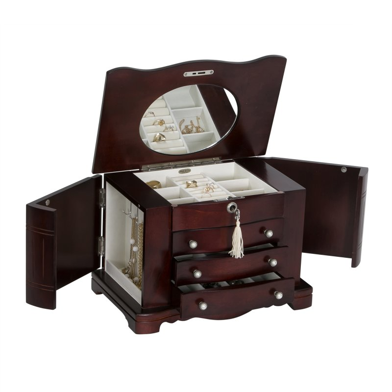 Classic Elegant Jewelry Organizer in Mahogany Finish with Necklace