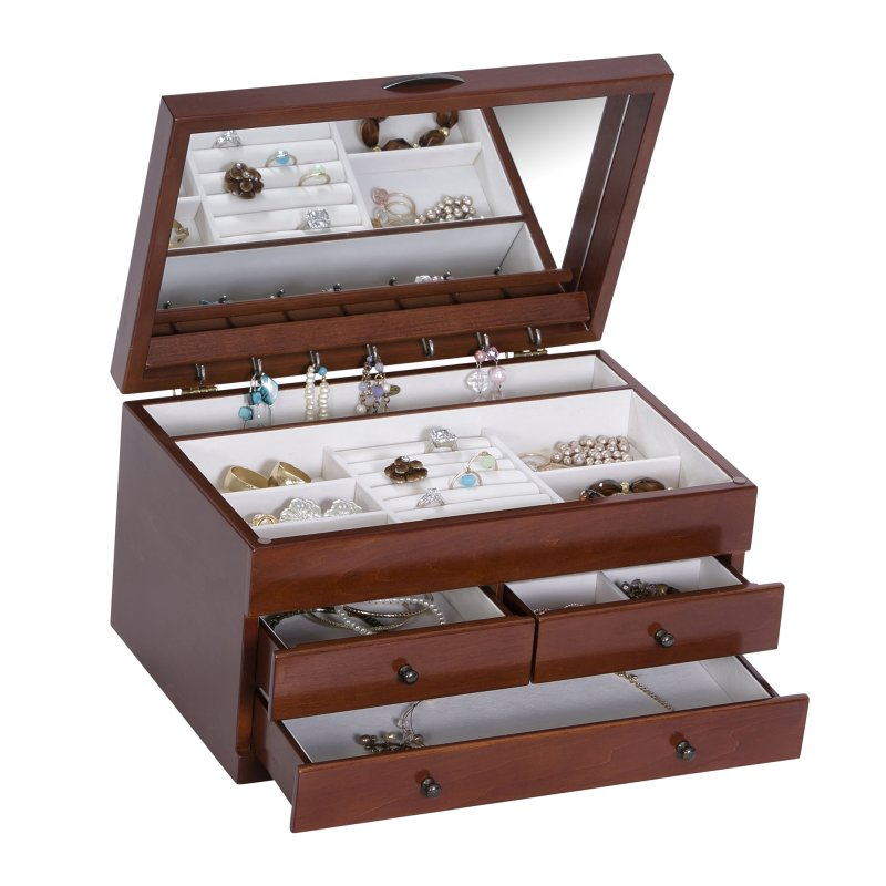 Delicate Vintage Jewelry Organizer in Walnut Colored Finish with