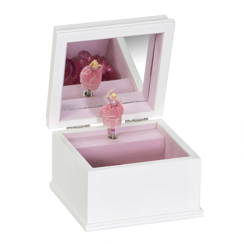 Playful Childrens Musical Jewelry Box in White Colored Wood Finish