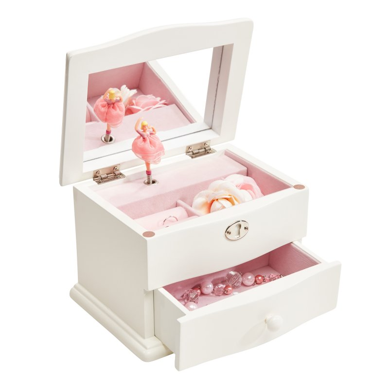 Elegant Childrens Musical Jewelry Box in Ivory Colored Wood Finish