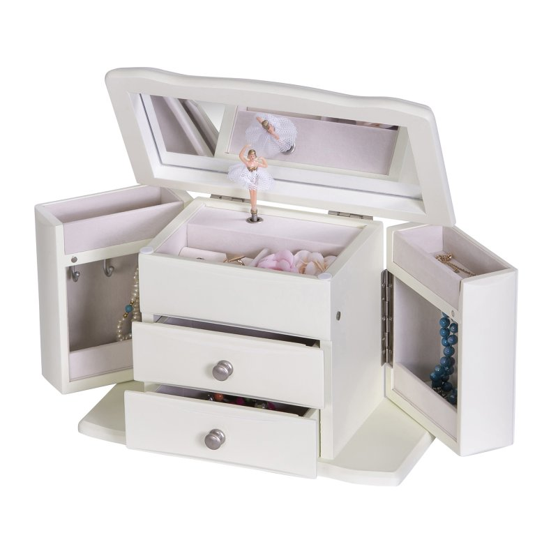 Classic, Upright Children\'s Musical Jewelry Box in Ivory Colored ...