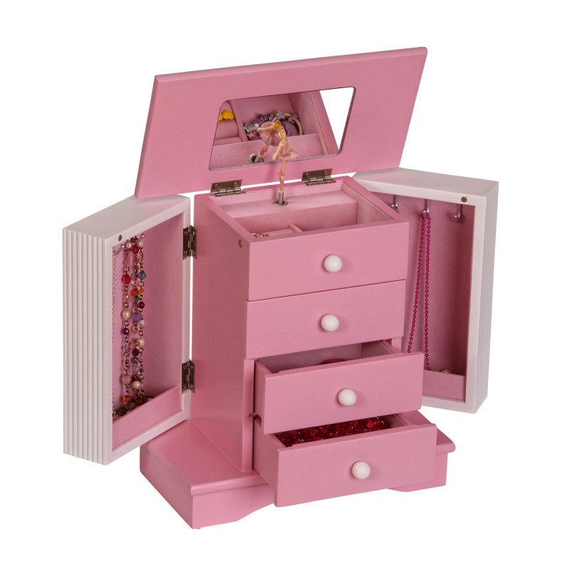 Classic Upright Childrens Musical Jewelry Box in Pink and Ivory
