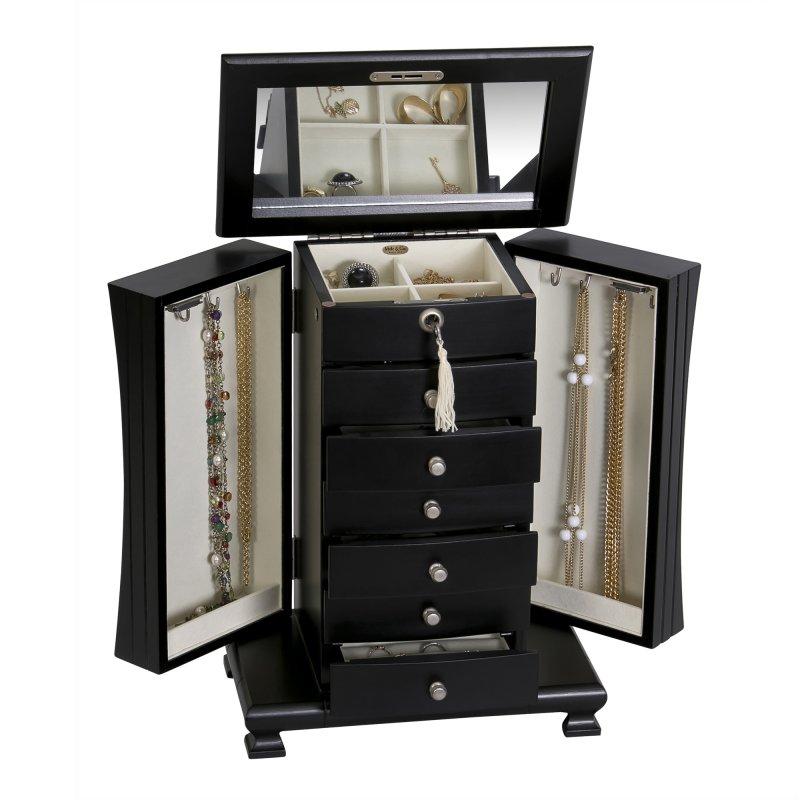 Majestic Upright Six Drawer Java Colored Locking Jewelry Organizer