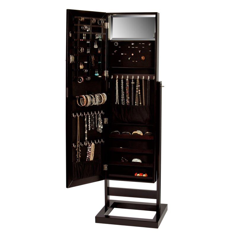 Sleek Modern Fully Locking Jewelry and Accessory Armoire in Java
